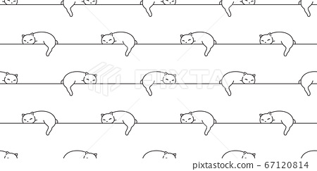 cat seamless pattern kitten vector sleeping calico animal pet scarf isolated repeat wallpaper cartoon tile background doodle illustration line white design 67120814