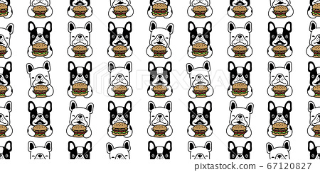 dog seamless pattern french bulldog vector hamburger food puppy pet repeat wallpaper scarf isolated cartoon doodle tile background illustration design 67120827