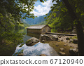 Old boat house at Lake Obersee in summer, Bavaria, Germany 67120940