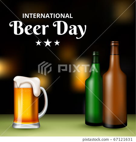 International Beer Day, on August. Cheers with clinking beer mugs conceptual. vector illustration. 67121631