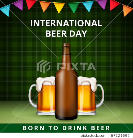International Beer Day, on August. Cheers with clinking beer mugs conceptual. vector illustration. 67121693