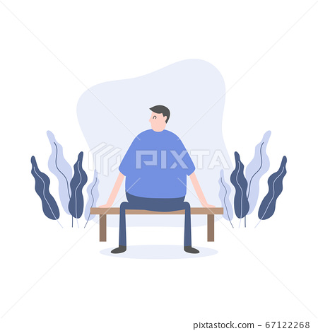 Man character sitting on bench in park cartoon character. 67122268
