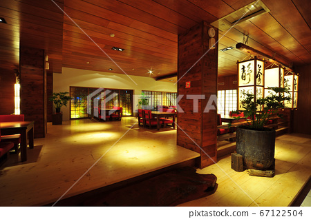 Restaurant, building interior, lighting equipment, lighting, tables and chairs 67122504