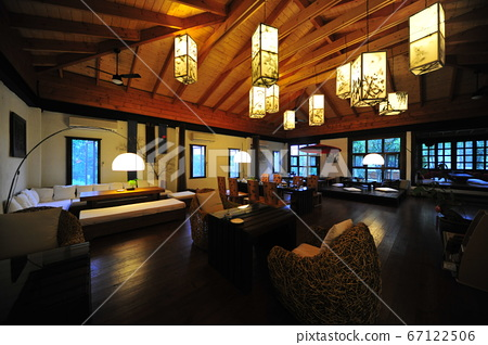 Restaurant, building interior, lighting equipment, lighting, tables and chairs 67122506