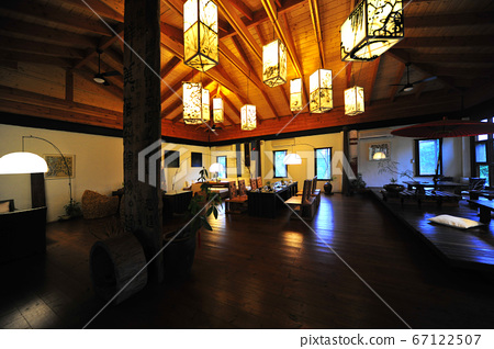 Restaurant, building interior, lighting equipment, lighting, tables and chairs 67122507