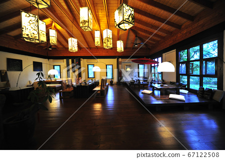 Restaurant, building interior, lighting equipment, lighting, tables and chairs 67122508