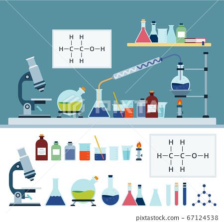Laboratory chemical equipment vector illustration and collection in flat style. 67124538