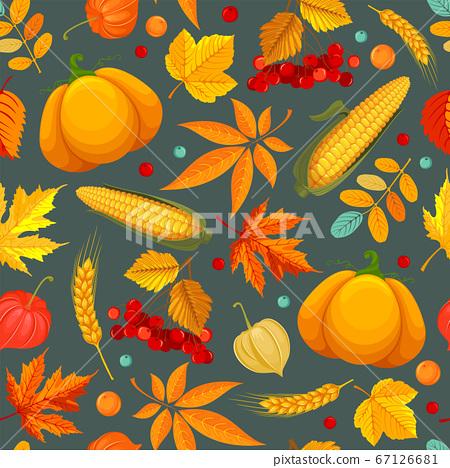 Seamless Pattern With Autumn Leaves, Pumpkin, Corn And Rowan 67126681