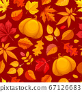 Seamless Pattern With Autumn Leaves And Pumpkin 67126683