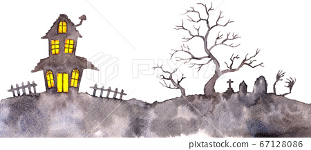 水彩_豪宅和墳墓輪廓水平_萬聖節材料 67128086