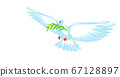 Dove of peace purity design. Pigeon with green olive branch on white background. Logo, symbol of love and messengers. Flat vector Beautiful graphic isolated element. Flying cartoon bird drawing 67128897