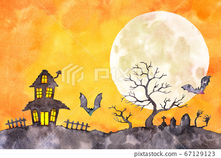 Watercolor _ Halloween postcard horizontal template _ building and grave silhouette 67129123