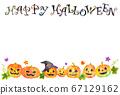 水彩畫_萬聖節明信片水平模板_內襯傑克·奧蘭登 67129162