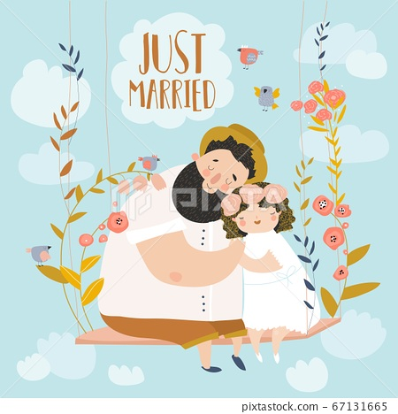 Happy couple sits on swing in flowers. Just married 67131665