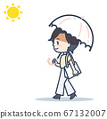 Illustration of a woman avoiding the sun with a parasol 67132007