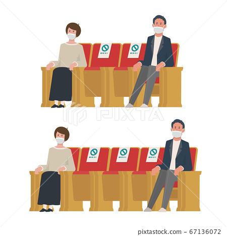 간격을두고 앉힌 남성 여성 [실내 · 좌석 · 관객석 · 관람석 · 감상 · 관람] 일러스트 67136072