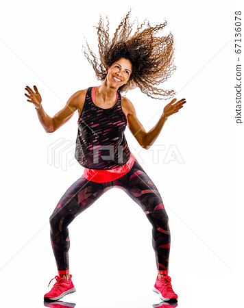 woman cardio dancer dancing fitness fitness exercises isolated white background 67136078