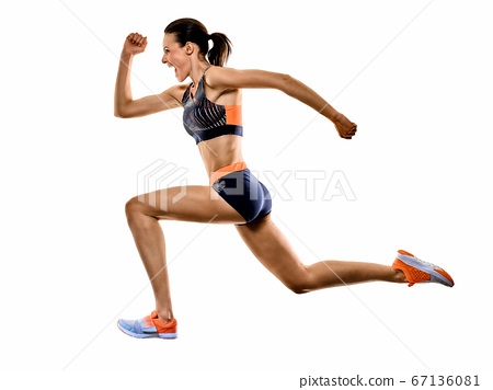 young woman runner running jogger jogging athletics isolated white background 67136081