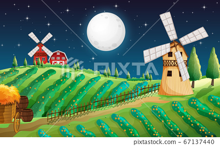 Farm scene with barn and mill at night 67137440
