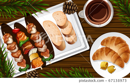 Barbecue and pancake close up on desk background 67138973