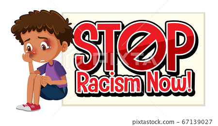 Boy with bruises and stop racism sign 67139027