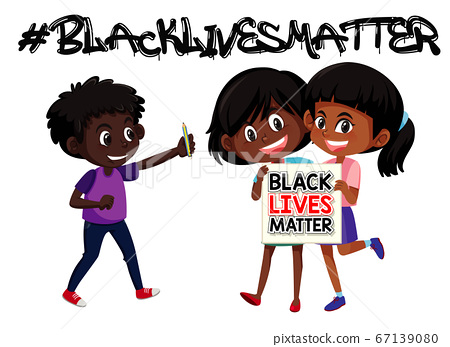 African-American children holding picketing sign 67139080