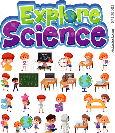Explore science logo and set of children with 67139083