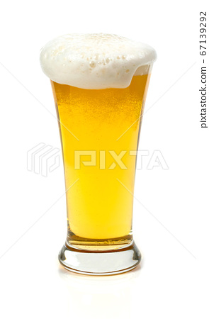 Beer in a glass on white background 67139292