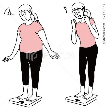 體重秤女人瘦和胖站 67139864
