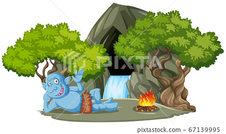 Goblin or troll lying infront of stone cave with 67139995