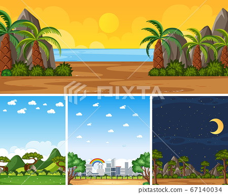 Four background different nature scenes with green 67140034