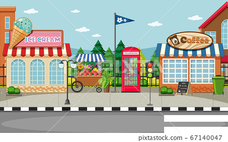 Street side scene with ice cream shop and coffee 67140047