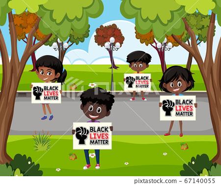 African-American holding black lives matter sign 67140055