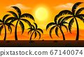 Background scene with sunset and silhouette 67140074