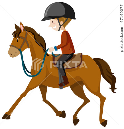 Young man wearing helmet or rider riding a horse 67140077