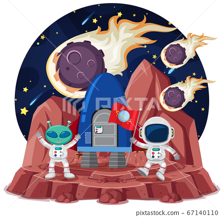 Space theme with astronauts holding flag and alien 67140110
