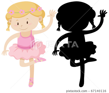 Cute ballet girl with its silhouette 67140116