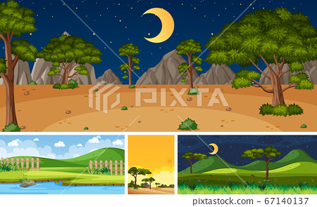 Four background different nature scenes with green 67140137