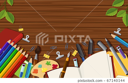 Close up blank desk background with stantionary 67140144
