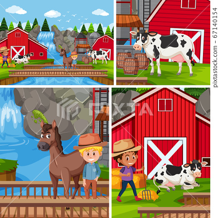 Simple farm background set 67140154