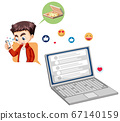 Laptop with social media emoji icon cartoon style 67140159