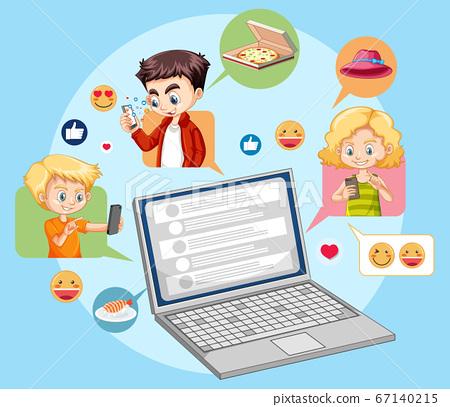 Laptop with social media emoji icon cartoon style 67140215
