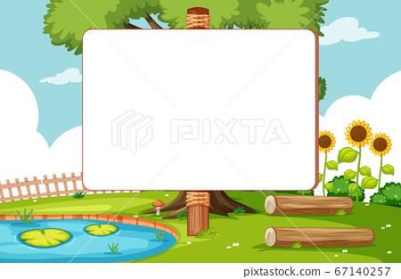 Blank banner in nature park scene 67140257