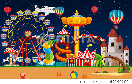 Amusement park scene at night with balloons and 67140260