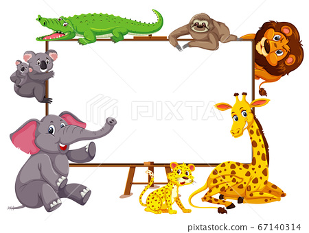 Wild animals cartoon character and blank banner on 67140314