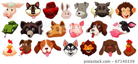 Set of different cute cartoon animals head huge 67140339
