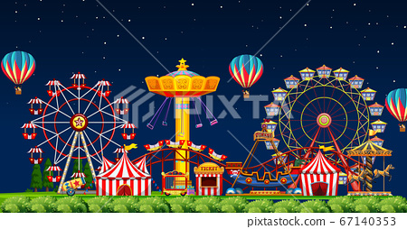 Amusement park scene at night with balloons in the 67140353