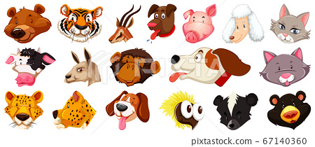 Set of different cute cartoon animals head huge 67140360