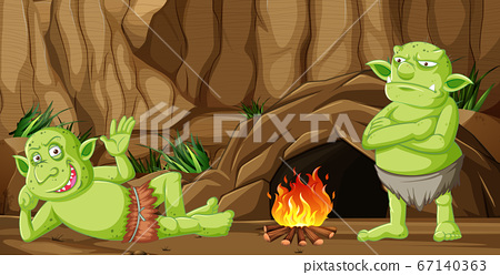 Goblins or trolls with cave house and camp fire in 67140363