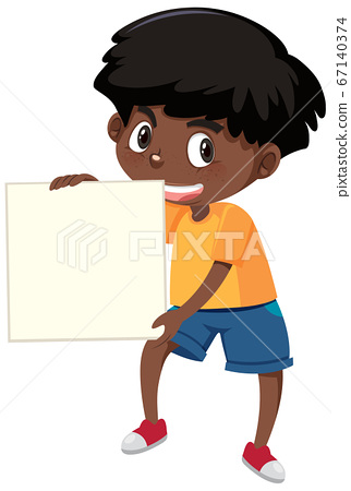 Boy with blank banner 67140374